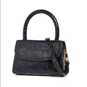 BY FAR Black Croco Mini Satchel Bag NWT